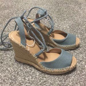 Shoes - Light Denim Lace Up Espadrilles